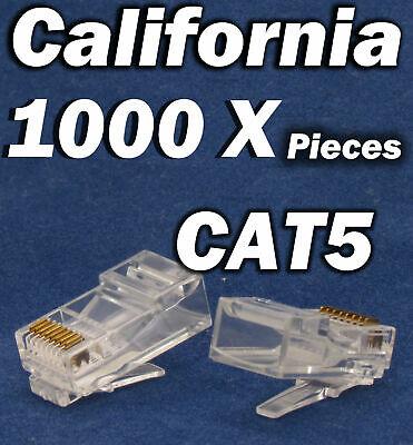 1000 Pcs RJ45 CAT5 CAT5E 8P8C Modular Network Cable LAN Connector End Plug LOT Computer Cables & Connectors