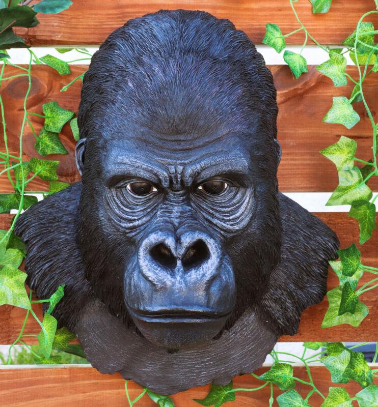 Large African Silverback Gorilla Ape Head Wall Hanging Figurine Decor Plaque