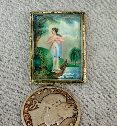 Tiny miniature painting c. 19th cent
