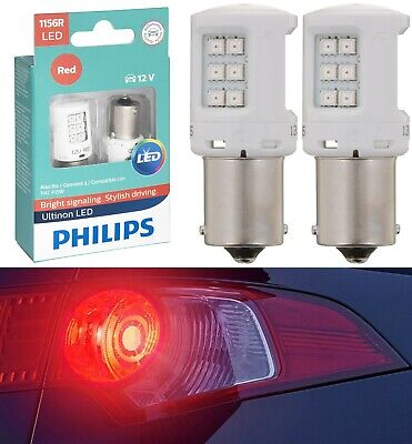 OpenBox Philips Ultinon LED Light 1156 Red Two Bulbs Rear Turn Signal Replace