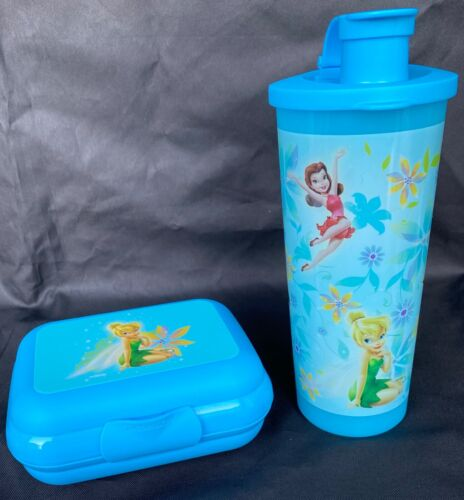 Tupperware Disney Fairies 2pc Set~Tinkerbell 16oz. Tumbler & Oyster/Packable New