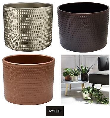 Ivyline Metallic Contemporary Flower Pot Planter Copper Gold Black 13cm