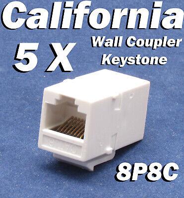 5 X pcs Lot CAT6 Inline RJ45 Keystone Wall Coupler Jack Adapter 8P8C White -