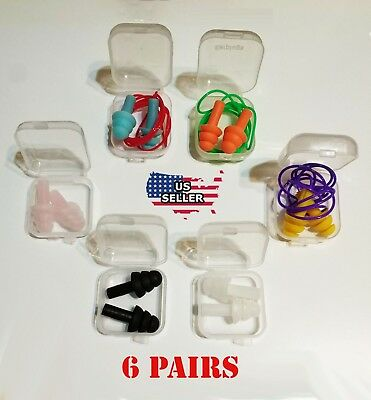 Earplugs 6 Pairs 6 Boxes Mix Silicone Ear Plugs Anti Noise Hearing Protection