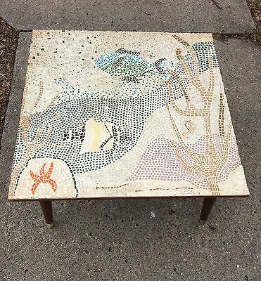 Vintage Mid Century Modern  Fish Mosaic Tile Top Coffee Side Table