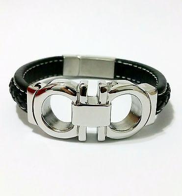 Men's White Gold Tone Stainless Steel Top Fashion Black Leather Bracelet