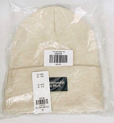 1 Abercrombie & Fitch LIGHT CREAM Knit Beanie Hat Women Men Unisex Logo Turn Up