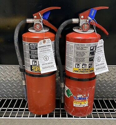 Fire Extinguisher 10lb Abc Scratch Dirty Set Of 2