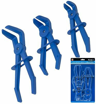 Bluespot 3pc Flexible Offset Hose Pliers Clamp Plier Set Brake Radiator Pipes