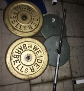 Weider Bench with Bar and Weights