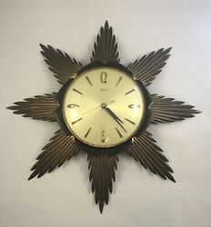 Vintage Mid Century England Metamec Timemaster Sunburst Wall Clock Retro Battery