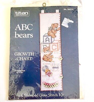 Cross Stitch Height Chart (Titan Needlecraft ABC Bears Childrens Kids Growth Height Chart Cross Stitch)