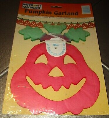 Vintage Halloween PAPER FANTASIES PUMPKIN GARLAND Denmark New NOS Sealed 12'