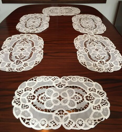 6 Vintage White Battenburg Placemats ~