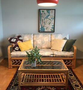 COUCH and COFFEE TABLE  Vintage Rattan