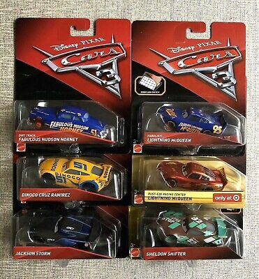 🎬🏁Disney Pixar CARS 3 Lot of 6 Target Lightning McQueen Hudson Hornet New!🎬