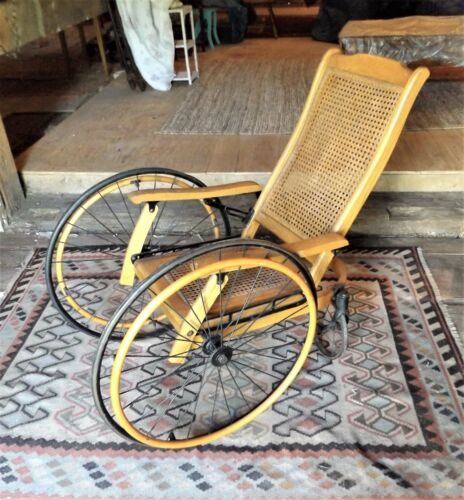Antique Vintage Oak and Cane Wheelchair, The Creepy Movie Kind
