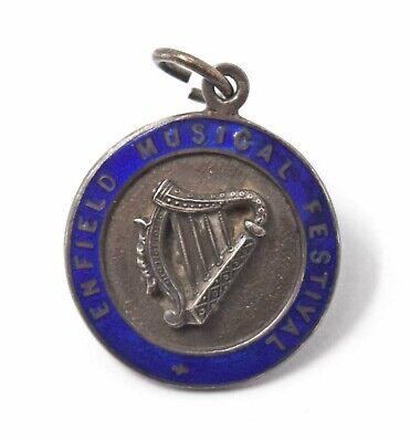 Hallmarked Silver 1930 Enfield Music Festival Enamel Fob Medal Badge