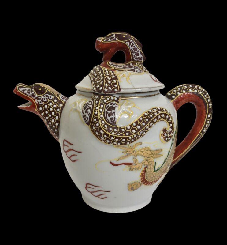 Vintage Kutani Moriage Teapot Red & Gold Dragonware Japan 2 Cup As Is