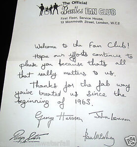 FAN-CLUB-Letter-Autographed-by-all-4-BEATLES-Paul-McCartney-John-Lennon-Vintage