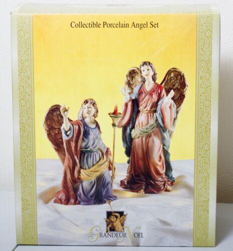 Vintage Grandeur Noel N0095 Collectible Porcelain Angel Set 1999