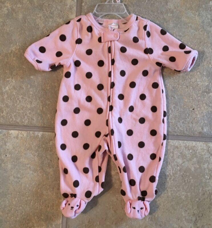 Ghmboree Girl's Size 0-3 Months Pink ' Brown Polka Dot Fleece Sleeper