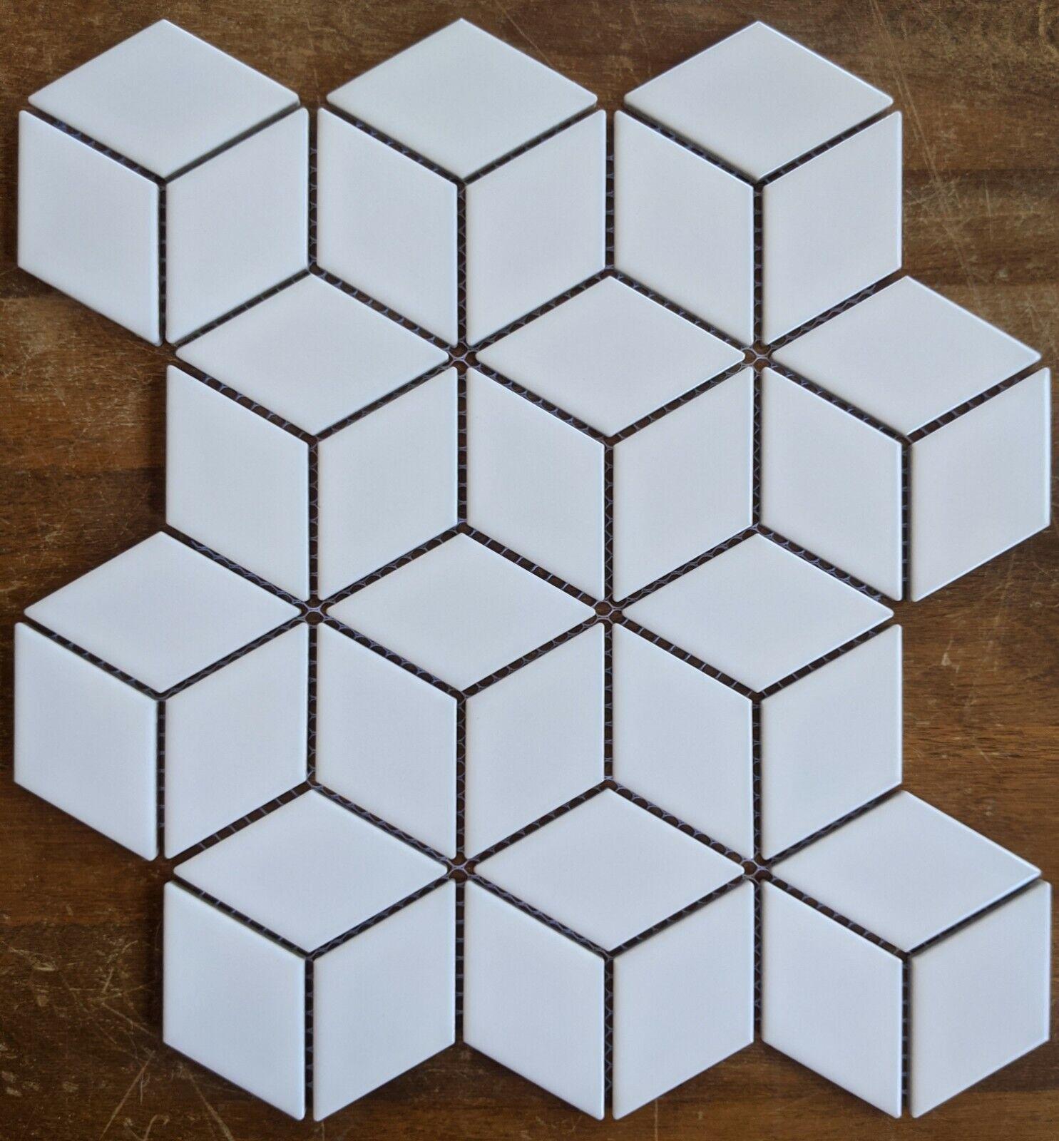 Matte White Diamond Cube Porcelain Mosaic For Wall And Floor Tile
