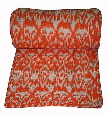 """King Size Kantha Quilt Cotton Bed sheet Handmade Bird Print Indian Bedspread 90"""""""