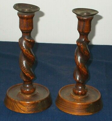 QUALITY PAIR OF ANTIQUE OAK TWIST CANDLESTICKS WITH METAL SCONCES GOOD CONDITION