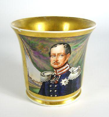 Biedermeier Porzellan Tasse / Portraittasse Handbemalt ca. 1850 Reservistentasse