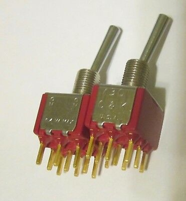 Ck 7301 3pdt Triple Pole Double Throw Toggle Switch Pc Board Mount Lot Of 2
