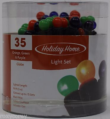 Halloween Holiday Home 35 Orange Green & Purple Globe Light Set NIP](Purple Halloween Lights)