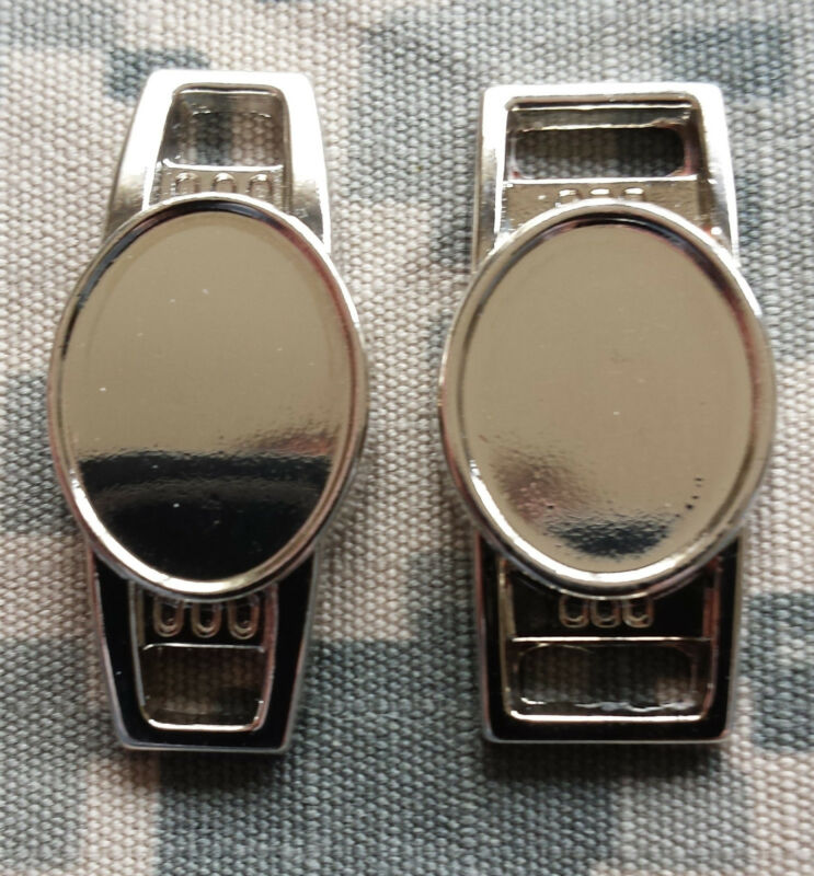 12 x 16 mm Blank Oval Shoelace Paracord Charm w/ Epoxy Sticker Silver Gunmetal