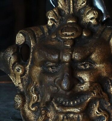 19C French Gilt Bronze Fantasy Myth Devil/Satyr/Gargoyle/Masks