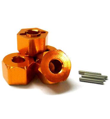 BMT0009OR 1/10 RC M12 12mm Aleación Rueda Adaptadores Hub Pin Tuerca Orange...