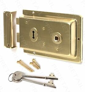 Victorian Style 1920s Rim Lock Knob Set ~BLACK/BRASS/CHROME~ Deadbolt Door Keys