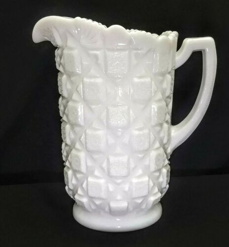 Vintage Westmoreland Milk Glass Embossed Old Quilt Pattern 40 oz. Pitcher