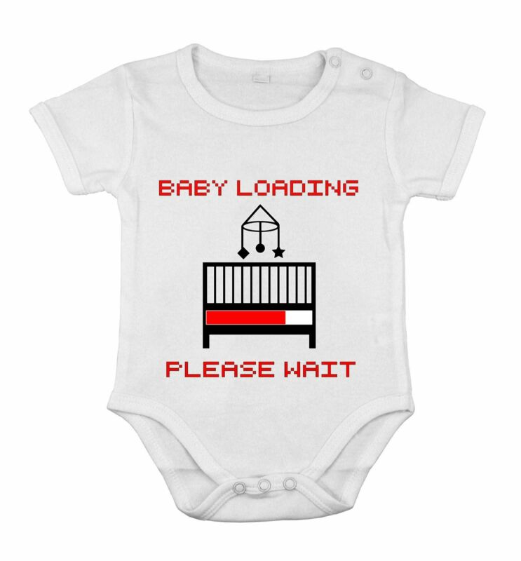 Baby Newborn Romper White Cotton OUTFIT KIDS Loading please wait funny print