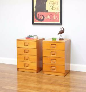 Pair of Alrob 4 Drawer Retro Bedside Tables / Chest of Drawers