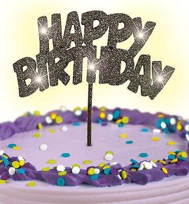 Cake Topper Black Glitter HAPPY BIRTHDAY LED Flashing Decoration FREE SHIPPING!! - Flashing Happy Birthday