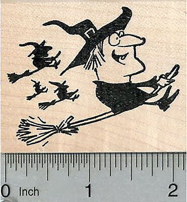 Halloween Witch Rubber Stamp, Girls Night Out, Flying on Brooms H34710 WM