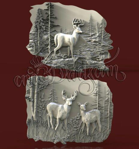 2 3D STL Model Hunting Deer Panel CNC Router Carving Machine Artcam aspire Cut3D