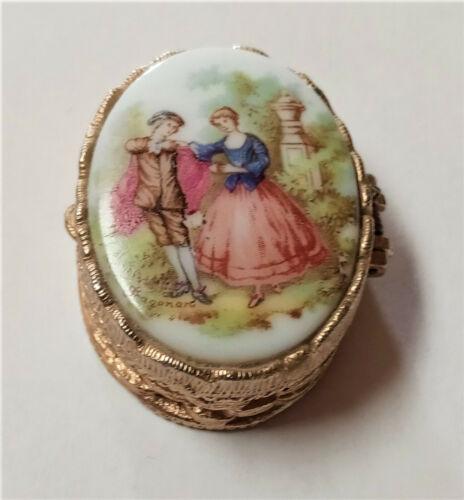 Vintage Limoges Style Fragonard Porcelain Top Metal Trinket Pill Ring Box Oval