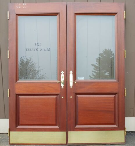 HUGE PAIR OF VERY NICE SOLID MAHOGANY EXTERIOR ENTRANCE DOORS BEVELED GLASS