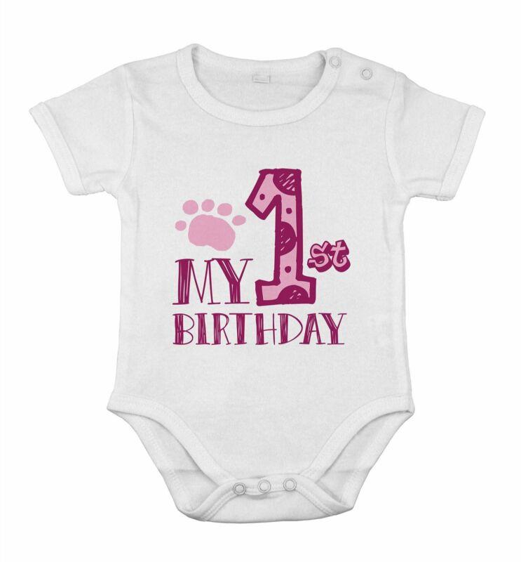 My 1st First Birthday Newborn Romper Baby Girls Party one piece romper