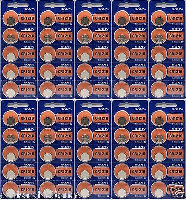 50 Pcs Sony Lithium Cr1216 1216 3v Watch Batteries
