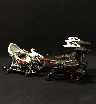 VINTAGE SLED AND REINDEER CAST IRON HOLIDAY DECORATION CHRISTMAS