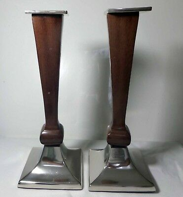 """Set of 2 Candle Holders Metal and Wood Made in India 15"""" High Candlesticks"""