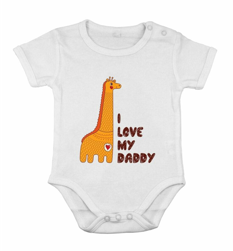 I love My Daddy safari giraf Funny Cute Baby Newborn Romper Cotton cothing
