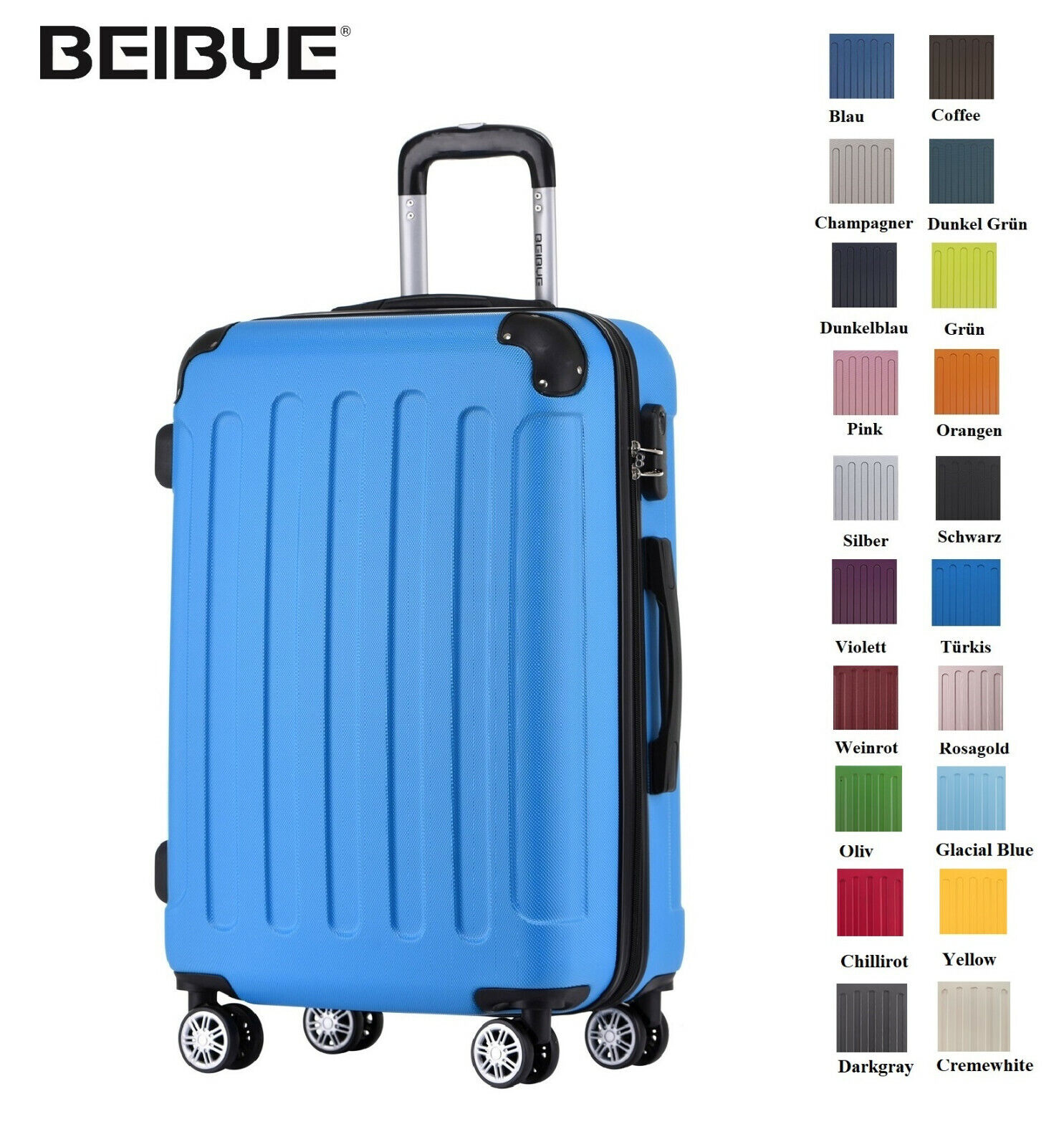 BEIBYE Koffer Hartschalen Trolley Kofferset Reisekoffer  M-L-XL-Set in 20 FarbenSicherheit+Stabilität+Tragekomfort+extra leicht+Farben